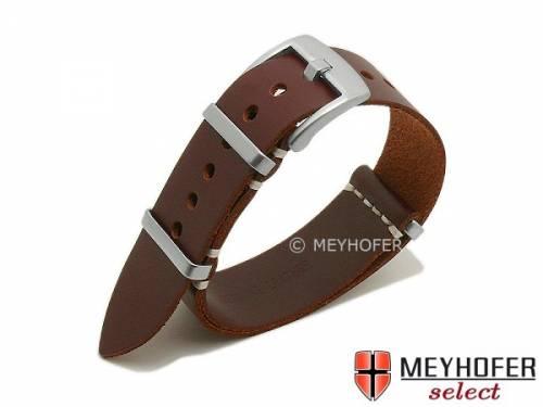 Uhrenarmband -Meadville- 20mm rotbraun Leder NATO-Style Durchzugsband von MEYHOFER - Bild vergrößern