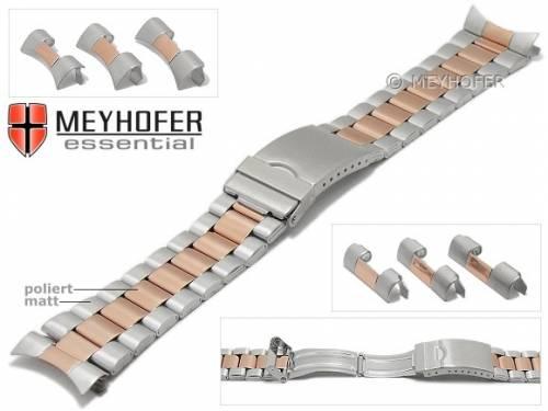 Uhrenarmband -Livonia- 22-24-26mm bicolor silber/roségoldfarben Edelstahl teilweise poliert Wechselanstoß von MEYHOFER - Bild vergrößern