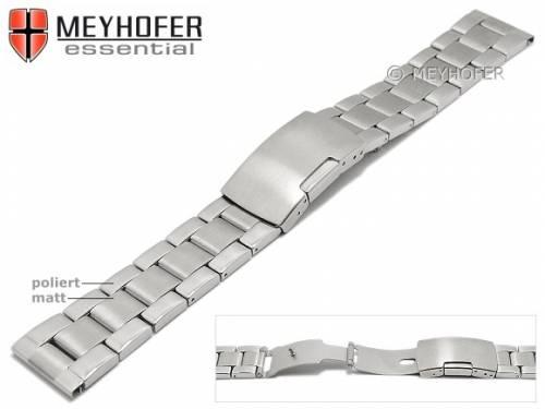Uhrenarmband -Hillsboro- 20mm Edelstahl gefaltet Massiv-Look teilweise poliert von MEYHOFER - Bild vergrößern