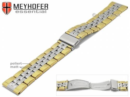 Uhrenarmband -Bellingham- 22mm bicolor Edelstahl gefaltet Massiv-Look teilweise poliert von MEYHOFER - Bild vergrößern