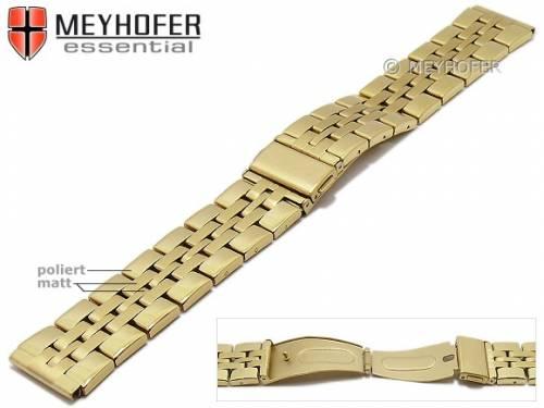Uhrenarmband -Bellingham- 20mm goldfarben Edelstahl gefaltet Massiv-Look teilweise poliert von MEYHOFER - Bild vergrößern
