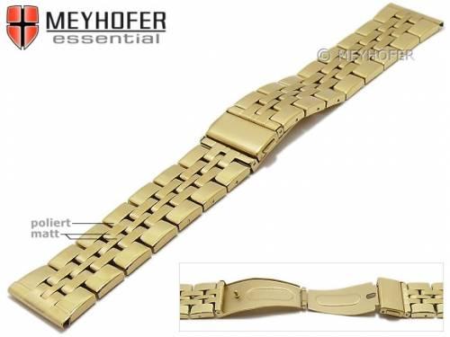 Uhrenarmband -Bellingham- 22mm goldfarben Edelstahl gefaltet Massiv-Look teilweise poliert von MEYHOFER - Bild vergrößern