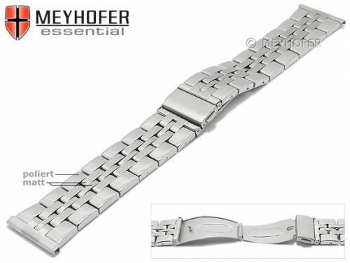 Uhrenarmband -Bellingham- 24mm Edelstahl gefaltet Massiv-Look teilweise poliert von MEYHOFER - Bild vergrößern