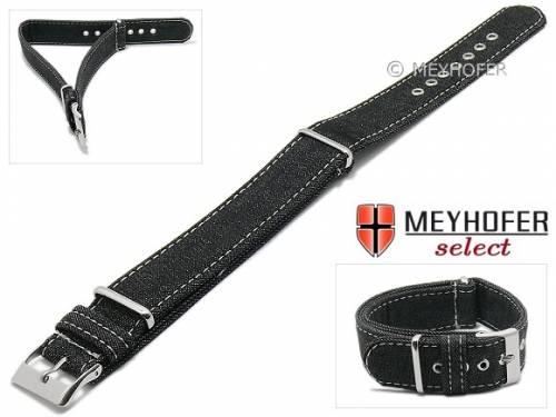 Uhrenarmband -Grosseto- 22mm schwarz Textil Jeans-Look Durchzugsband im NATO-Style von MEYHOFER - Made in Italy - Bild vergrößern