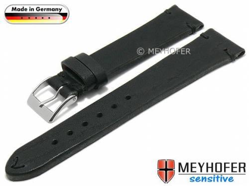 HANDMADE IN GERMANY: Uhrenarmband -Freystadt- 18mm schwarz Leder vegetabil gegerbt von MEYHOFER (Schließenanstoß 16 mm) - Bild vergrößern