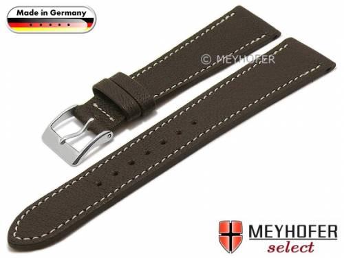 Uhrenarmband -Neunburg- 18mm dunkelbraun Ziegen-Leder genarbt helle Naht von MEYHOFER (Schließenanstoß 16 mm) - Bild vergrößern