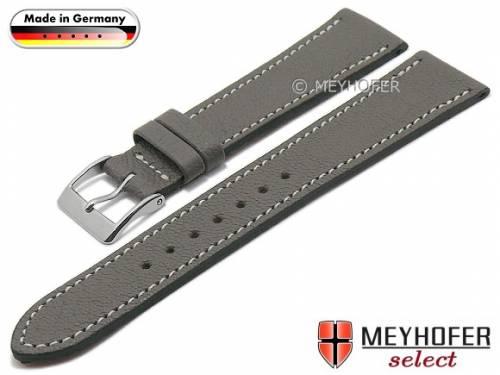 Uhrenarmband -Neunburg- 19mm grau Ziegen-Leder genarbt helle Naht von MEYHOFER (Schließenanstoß 16 mm) - Bild vergrößern