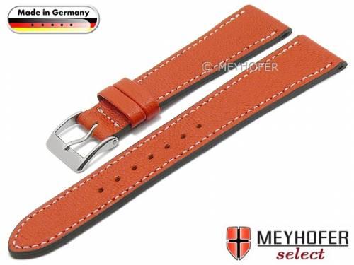 Uhrenarmband -Neunburg- 20mm orange Ziegen-Leder genarbt helle Naht von MEYHOFER (Schließenanstoß 16 mm) - Bild vergrößern