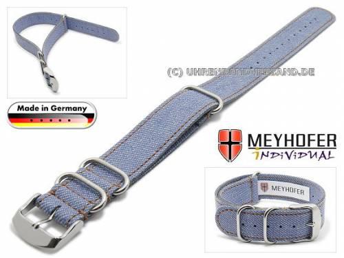 Uhrenarmband -Hohenfels- 24mm mittelblau Synthetik Jeans-Look braune Naht Durchzugsband von Meyhofer - Bild vergrößern