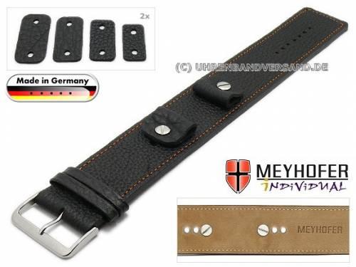 Uhrenarmband -Kassel- 14-16-18-20mm Wechselanstoß schwarz Leder genarbt orangefarbene Naht Unterlagenband von Meyhofer - Bild vergrößern