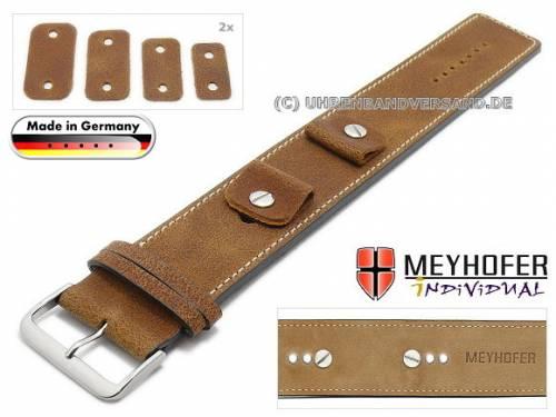 Uhrenarmband -Gotha- 14-16-18-20mm Wechselanstoß hellbraun Leder Antik-Look helle Naht Unterlagenband von Meyhofer - Bild vergrößern