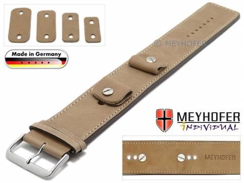 Uhrenarmband -Magdeburg- 14-16-18-20mm Wechselanstoß beige Leder Antik-Look abgenäht Unterlagenband Meyhofer - Bild vergrößern