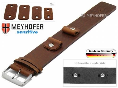Uhrenarmband -Starnberg- 14-16-18-20mm Wechselanstoß mittelbraun Leder Antik-Look vegetabil Unterlagenband von Meyhofer - Bild vergrößern
