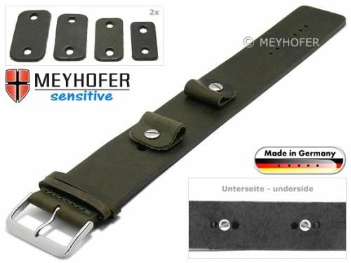 Uhrenarmband -Starnberg- 14-16-18-20mm Wechselanstoß dunkelgrün Leder Antik-Look vegetabil Unterlagenband von Meyhofer - Bild vergrößern
