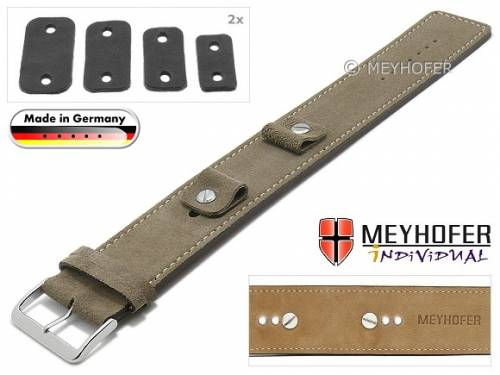 Uhrenarmband -Edlingen- 14-16-18-20mm Wechselanstoß beige Leder velourartig helle Naht Unterlagenband von MEYHOFER - Bild vergrößern