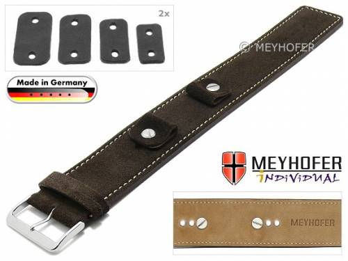 Uhrenarmband -Edlingen- 14-16-18-20mm Wechselanstoß dunkelbraun Leder velourartig helle Naht Unterlagenband von MEYHOFER - Bild vergrößern