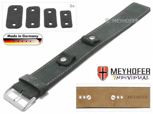 Uhrenarmband -Edlingen- 14-16-18-20mm Wechselanstoß dunkelgrau Leder velourartig helle Naht Unterlagenband von MEYHOFER - Bild vergrößern