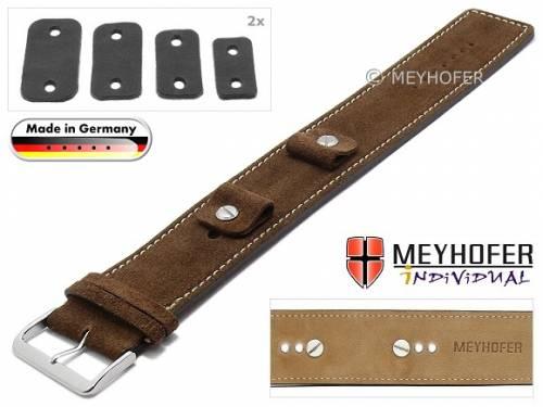 Uhrenarmband -Edlingen- 14-16-18-20mm Wechselanstoß mittelbraun Leder velourartig helle Naht Unterlagenband von MEYHOFER - Bild vergrößern