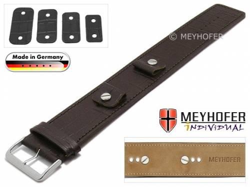 Uhrenarmband -Leinburg- 14-16-18-20mm Wechselanstoß dunkelbraun Leder Alligator-Prägung Unterlagenband von MEYHOFER - Bild vergrößern
