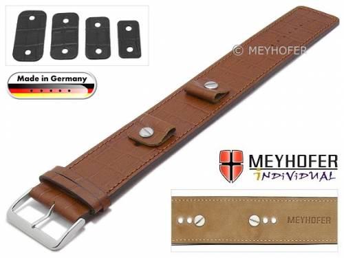Uhrenarmband -Leinburg- 14-16-18-20mm Wechselanstoß mittelbraun Leder Alligator-Prägung Unterlagenband von MEYHOFER - Bild vergrößern