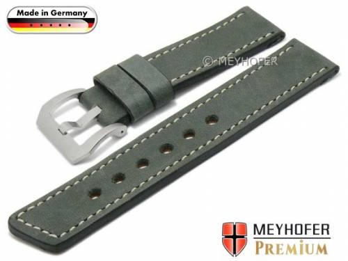 Uhrenarmband -Laredo- 22mm dunkelgrau Leder Antik-Look helle Naht von MEYHOFER (Schließenanstoß 22 mm) - Bild vergrößern