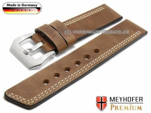 Uhrenarmband -Malaga- 26mm mittelbraun Leder Antik-Look helle einseitige Doppelnaht von MEYHOFER (Schließenanstoß 26 mm) - Bild vergrößern
