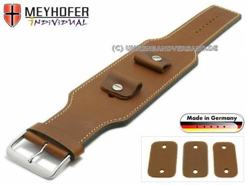 Uhrenarmband -Luederitz- 20-22-24mm Wechselanstoß mittelbraun Leder Antik-Look helle Naht Unterlagenband von MEYHOFER - Bild vergrößern