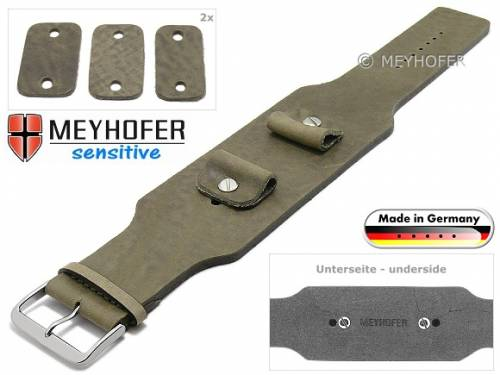 Uhrenarmband -Weilheim- 20-22-24mm Wechselanstoß beige Leder Antik-Look vegetabil Unterlagenband von Meyhofer - Bild vergrößern