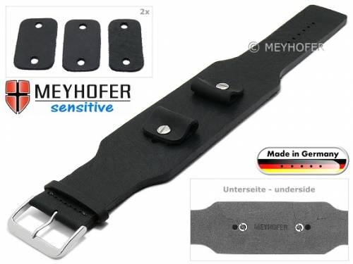 Uhrenarmband -Weilheim- 20-22-24mm Wechselanstoß schwarz Leder Antik-Look vegetabil Unterlagenband von Meyhofer - Bild vergrößern