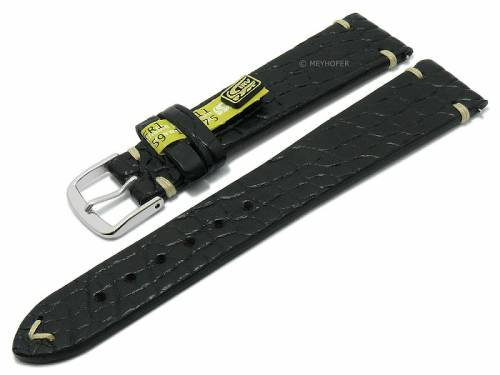 HANDMADE IN GERMANY: Uhrband -Lafayette- 20mm schwarz Echt Alligator optional auch mit EASY-CLICK von MEYHOFER  - Bild vergrößern