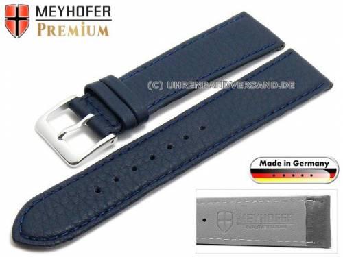 Uhrenarmband -Derbyshire- 20mm dunkelblau Leder genarbt abgenäht von Meyhofer (Schließenanstoß 18 mm) - Bild vergrößern