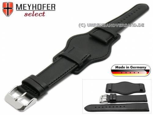 Uhrenarmband -Dornstadt- 20mm schwarz Leder glatt abgenäht mit Lederunterlage von Meyhofer (Schließenanstoß 18 mm) - Bild vergrößern