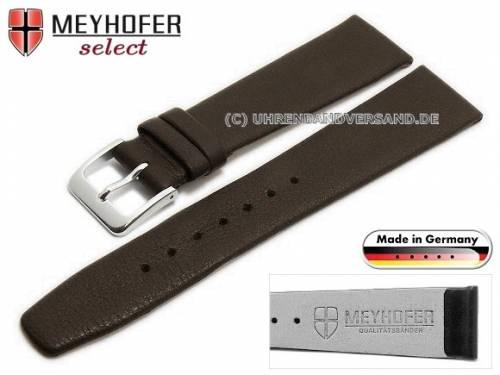 Uhrenarmband -Steinfurt- 20mm dunkelbraun Leder fein genarbt ohne Naht von Meyhofer (Schließenanstoß 16 mm) - Bild vergrößern