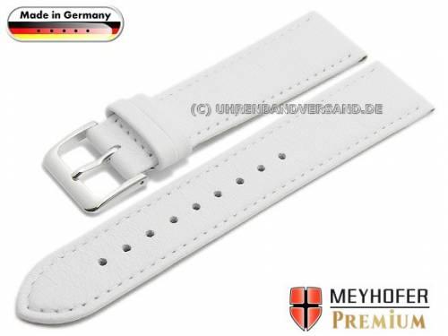 Uhrenarmband -Landau- 22mm weiß Leder fein genarbt abgenäht von MEYHOFER (Schließenanstoß 18 mm) - Bild vergrößern