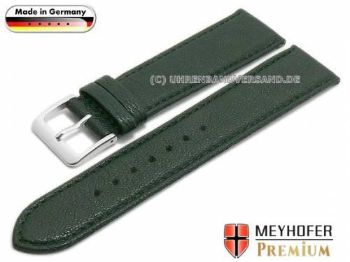 Uhrenarmband -Riesa- 20mm dunkelgrün Ziegenleder genarbt abgenäht von MEYHOFER (Schließenanstoß 18 mm) - Bild vergrößern