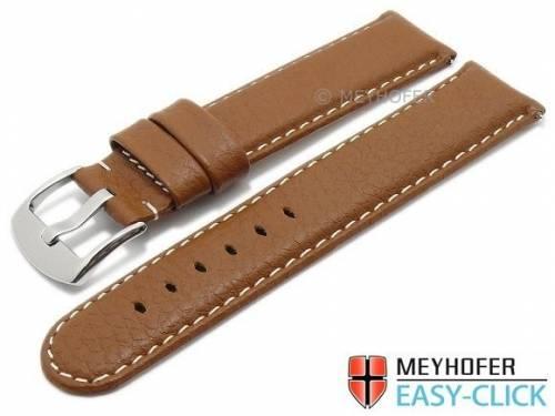 Meyhofer EASY-CLICK Uhrenarmband -Tahoe- 22mm mittelbraun Leder genarbt helle Naht (Schließenanstoß 22 mm) - Bild vergrößern
