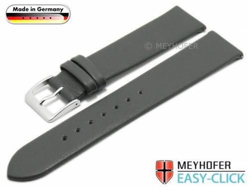 Meyhofer EASY-CLICK Uhrenarmband -Donau- 16mm mittelgrau Leder glatt ohne Naht (Schließenanstoß 16 mm) - Bild vergrößern