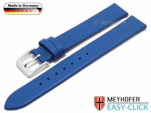 Meyhofer EASY-CLICK Uhrenarmband -Donau- 12mm azurblau Leder glatt ohne Naht (Schließenanstoß 12 mm) - Bild vergrößern