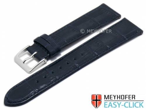 Meyhofer EASY-CLICK Uhrenarmband -Isar- 20mm dunkelblau Leder Alligator-Prägung abgenäht (Schließenanstoß 18 mm) - Bild vergrößern