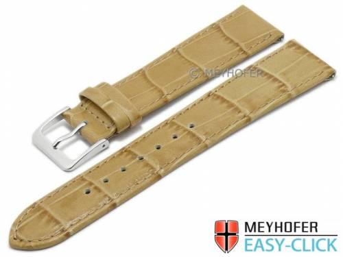 Meyhofer EASY-CLICK Uhrenarmband -Isar- 16mm beige Leder Alligator-Prägung abgenäht (Schließenanstoß 16 mm) - Bild vergrößern