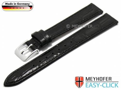 Meyhofer EASY-CLICK Uhrenarmband -Isar- 12mm schwarz Leder Alligator-Prägung abgenäht (Schließenanstoß 10 mm) - Bild vergrößern