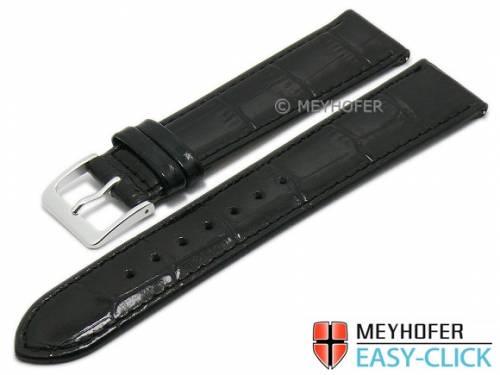 Meyhofer EASY-CLICK Uhrenarmband -Isar- 18mm schwarz Leder Alligator-Prägung abgenäht (Schließenanstoß 16 mm) - Bild vergrößern