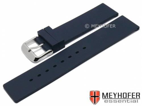 Uhrenarmband -Coburg- 18mm dunkelblau Silikon glatt matt von MEYHOFER (Schließenanstoß 18 mm) - Bild vergrößern