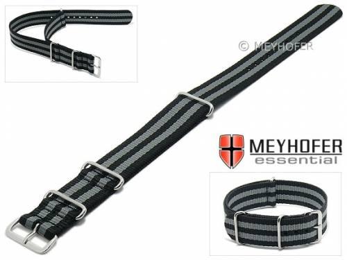 Uhrenarmband -Waterville- 24mm schwarz Textil graue Streifen Durchzugsband im NATO-Style von MEYHOFER - Bild vergrößern