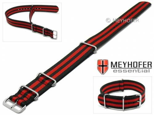 Uhrenarmband -Waterville- 20mm schwarz Textil rote Streifen Durchzugsband im NATO-Style von MEYHOFER - Bild vergrößern