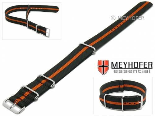 Uhrenarmband -Bidford- 22mm schwarz Textil orangefarbener Streifen Durchzugsband im NATO-Style von MEYHOFER - Bild vergrößern