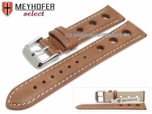 Uhrenarmband -Castletown- 22mm hellbraun Racing-Look glatt helle Naht von MEYHOFER (Schließenanstoß 20 mm) - Bild vergrößern