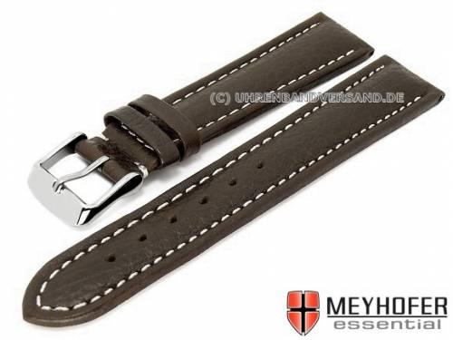 Uhrenarmband -Arendal- 20mm dunkelbraun Leder genarbt helle Naht von MEYHOFER (Schließenanstoß 18 mm) - Bild vergrößern