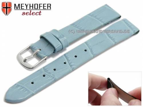 Uhrenarmband -Pensacola- 14mm Clip-Anstoß eisblau Leder Alligator-Prägung von MEYHOFER (Schließenanstoß 12 mm) - Bild vergrößern