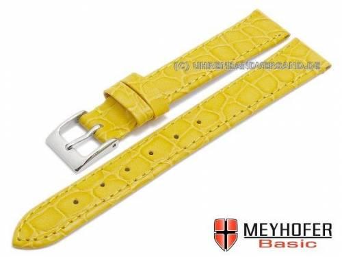 MEYHOFER Basic Uhrenarmband -Santos- 14mm gelb Leder Kroko-Prägung abgenäht (Schließenanstoß 12 mm) - Bild vergrößern
